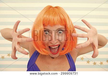 Happy Crazy Girl At Party. Happy Birthday Party Celebration With Crazy Girl. Crazy Girl Feel Happy C
