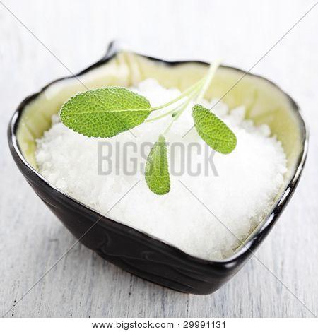 sea salt with leaf sage