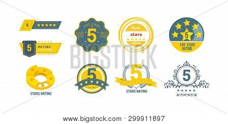 Different Types Of 5 Stars Rating. Concept Of Feedback, Reviews, Notifications.