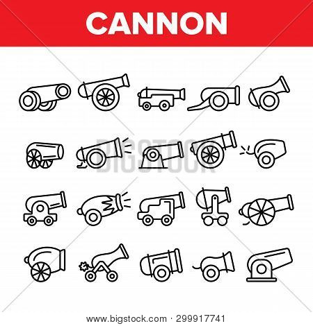 Old Cannons, Artillery Linear Icons Vector Set. Historic Weapon, War Cannons, Guns Thin Line Illustr
