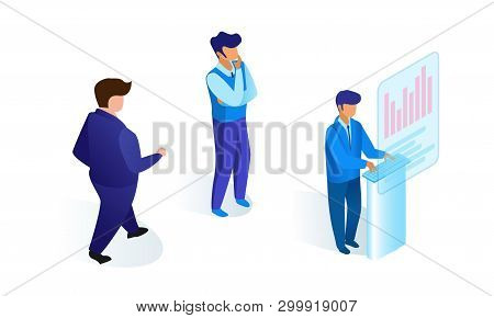 Men In Business Suits Work Together Project Flat. Vector Illustration On White Background. Confident