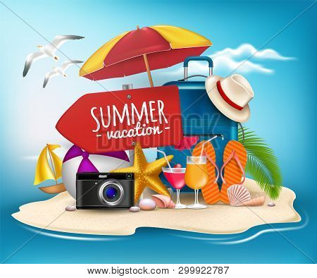 3D Realistic Summer Vacation Poster Design For Travel In A Sand Beach Island In Horizon. Stock Vecto