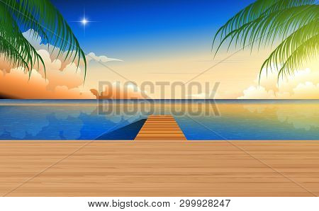 Landscape Of Wooden Walkway At The Beach In Sunset