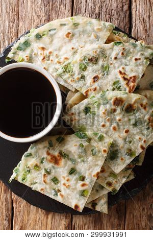 Green Onion Pancakes Are A Savory Chinese Flatbread Simply Made With Flour, Water, Salt, And Chopped