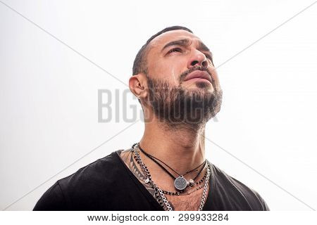 Unhappy Man Looking Up Isolated On White. Suffer And Hope. Beard Care Of Unshaven Man. Macho Man Cry