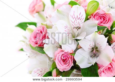 Flower border on white isolated background