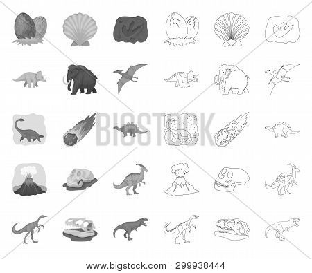Different Dinosaurs Mono, Outline Icons In Set Collection For Design. Prehistoric Animal Vector Symb