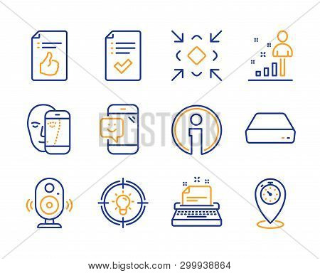 Approved document, Face biometrics and Smile icons simple set. Speaker, Mini pc and Stats signs. Typewriter, Idea and Minimize symbols. Approved checklist, Info and Timer. Line approved document icon poster