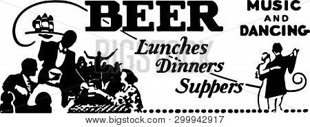 Beer Lunches Dinners Suppers - Retro Ad Art Banner