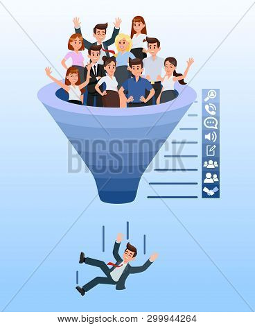 Blue Recruitment Funnel Color Vector Illustration. Hr Agency. Candidate Selection Stages. Recruitmen