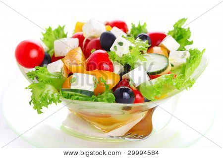 Greek salad on white isolated background