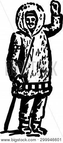 Eskimo - Retro Ad Art Illustration Of Ethnic People