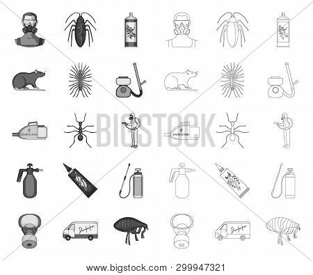 Pest, Poison, Personnel And Equipment Mono, Outline Icons In Set Collection For Design. Pest Control