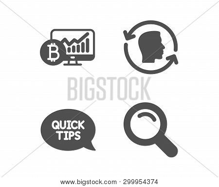 Set Of Quickstart Guide, Bitcoin Chart And Face Id Icons. Search Sign. Helpful Tricks, Cryptocurrenc