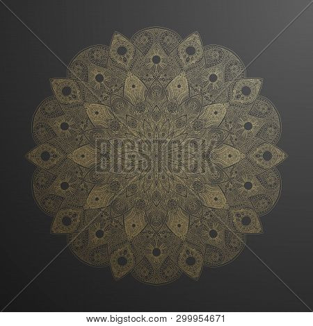 Gold Mandala Pattern. Abstract Gold On Black Floral Vector Art. Golden Flower In Indian Motive. Luxu