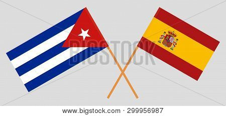 Cuba And Spain. The Cuban And Spanish Flags. Official Colors. Correct Proportion. Vector Illustratio