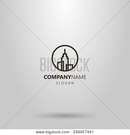 Black And White Simple Vector Line Art Logo Of Three High-rise Buildings With A Spire On The Roof In