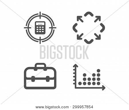 Set Of Maximize, Portfolio And Calculator Target Icons. Dot Plot Sign. Full Screen, Business Case, A