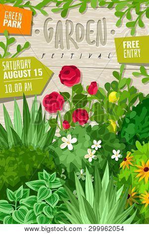 Garden Cartoon Vertical Poster. Outdoor Garden Landscape Isolated Plants Cartoon Vertical Frame Post