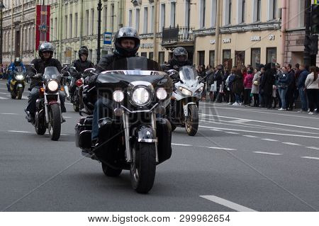 St. Petersburg, Russia -4 May, 2019: Motoparad. Bikers Ride On The Main Street Of St. Petersburg On