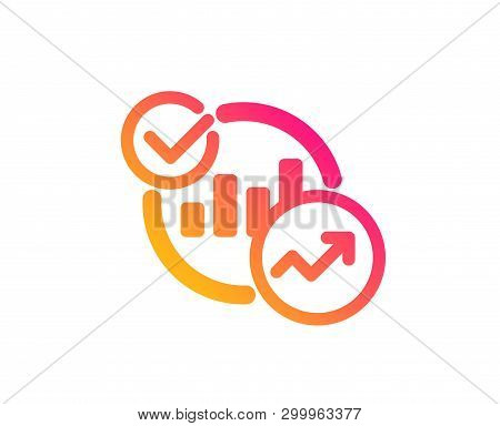 Charts, Statistics Icon. Report Graph Or Sales Growth Sign. Analytics Data Symbol. Classic Flat Styl