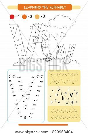 Letter V And Funny Cartoon Vulture. Animals Alphabet A-z. Coloring Page. Printable Worksheet. Handwr