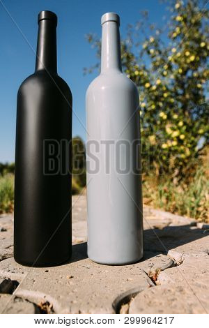 two black and gray bottles on the road from the tiles, the village, rural alcoholism, drunkenness. alcoholic illness. wine natural drink. wine poster