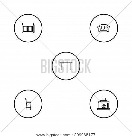 Set of 5 decor icons line style set. Collection of sofa, cot, chimney and other elements. poster