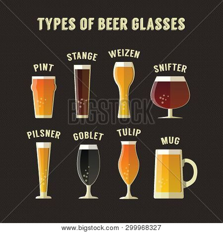 Types Of Beer Glasses, Eight Glasses Set