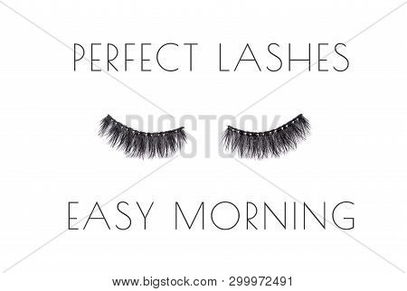 Poster With Pair Of Long False Lashes Over White Background With Quote Perfect Lashes Easy Morning.