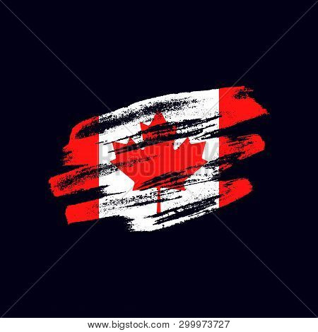 Grunge Textured Canadian Flag. Vector Brush Painted Flag Of Canada Isolated On Dark Blue Background.