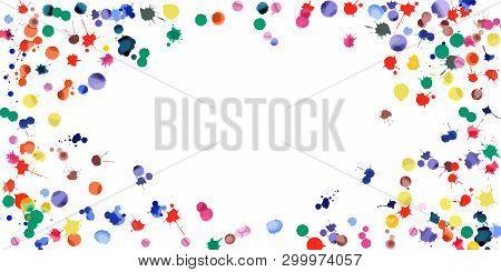 Watercolor Confetti On White Background. Rainbow Colored Blobs Wide Vignette. Colorful Bright Hand P