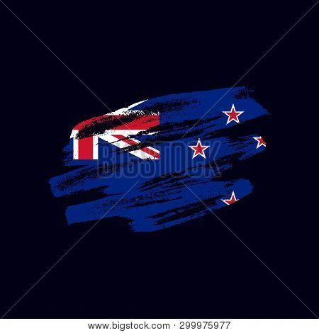 Grunge Textured New Zealander Flag. Vector Brush Painted Flag Of New Zealand Isolated On Dark Blue B