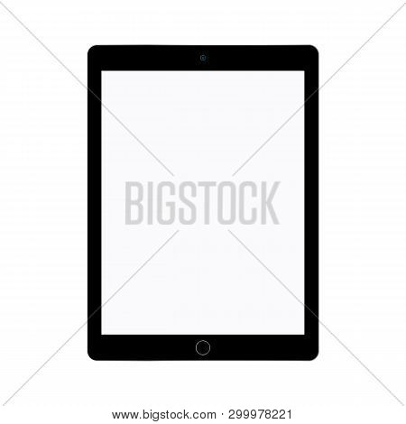 Black Tablet With Grey Screen. Tablet Flat Style Vector Eps10. Tablet With Empty Grey Screen Icon.