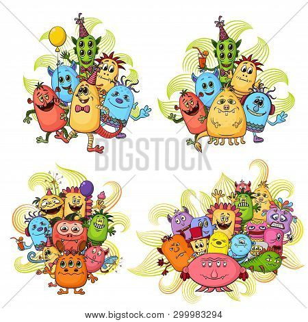 Set Of Groups Funny Colorful Cartoon Characters, Different Monsters, Elements For Your Design, Print