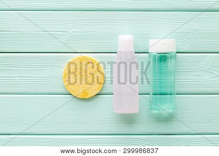 Organic Cosmetics For Face Clearing With Sponge, Facial Tonic, Mycelial Water On Mint Green Backgrou