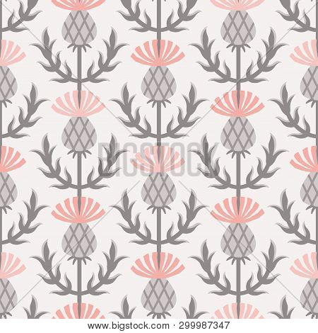 Scandinavian Style Thistle Floral Vector Gray And Pink Seamless Pattern. Wrapping Paper Design.