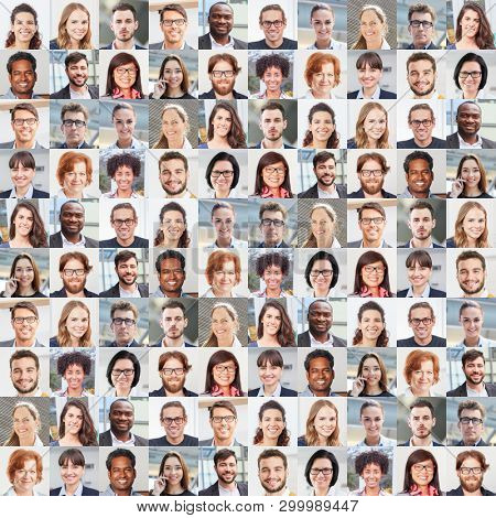 Portrait collage with business people as business and teamwork concept