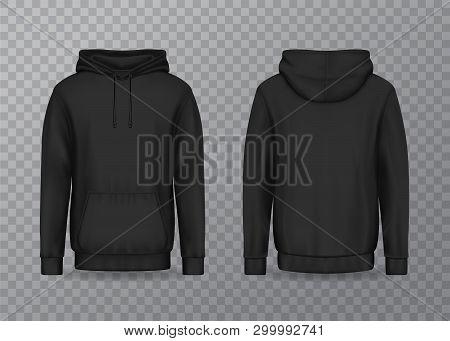 Isolated Back And Front Man Hoody On Transparent