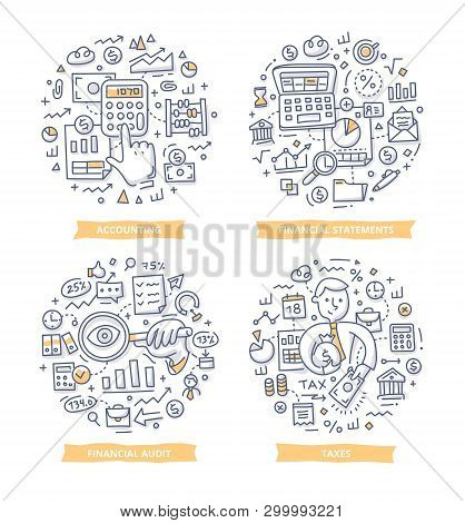 Doodle Vector Illustrations Of Financial And Cashflow Statements, Sales Report, Accounting And Audit