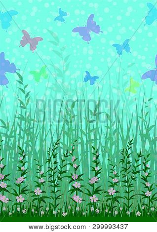 Colorful Flying Butterflies On Sky Above Green Grass And Flowers. Nature Landscape Background, Tile