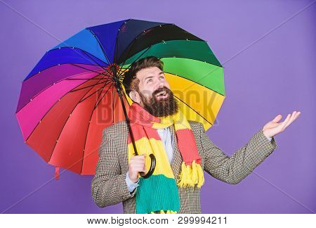 Looking Like Its Going To Rain. Autism. Autistic Rain Man Holding Colorful Umbrella. Bearded Man Che