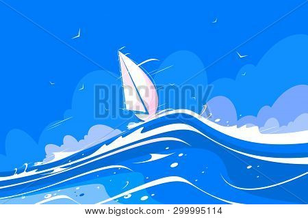 White Sailing Yacht Vector Illustration. Pleasure Boat