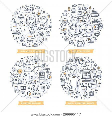 Doodle Vector Concepts Of Freelancing, Running Family Business, Growing Business And Managing Financ