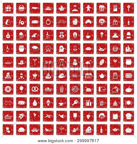 100 bounty icons set in grunge style red color isolated on white background illustration poster