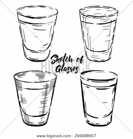 Set Of Vector Illustration Of Stemware. Glasses For Alcohol And Water. Engraving Style
