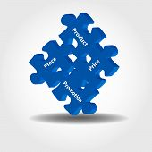 Illustration of puzzle pieces about marketing management 4P model - product pricing promotion place poster
