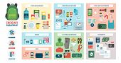 Disaster evacuation kit with supplies, food, accessories and clothes: emergency preparedness and safety concept poster
