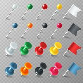 Pins flags tacks. Colored pointer eps marker pin flag tack pinned board pushpin organized announcement, color realistic vector set poster