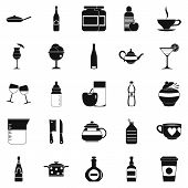 Crockery icons set. Simple set of 25 crockery icons for web isolated on white background poster